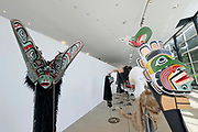 Kassel, Germany. Opening days of documenta14.<br /> documenta-Halle. Masks by Beau Dick.