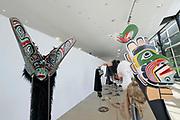 Kassel, Germany. Opening days of documenta14.<br /> documenta-Halle. Masks by Beau Dick.