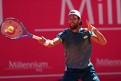 May 5, 2018 - Estoril, Portugal - Joao Sousa of Portugal returns a ball to Stefanos Tsitsipas of Greece during the Millennium Estoril Open ATP 250 tennis tournament semifinal, at the Clube de Tenis do Estoril in Estoril, Portugal on May 5, 2018. (Credit Image: © Pedro Fiuza via ZUMA Wire)