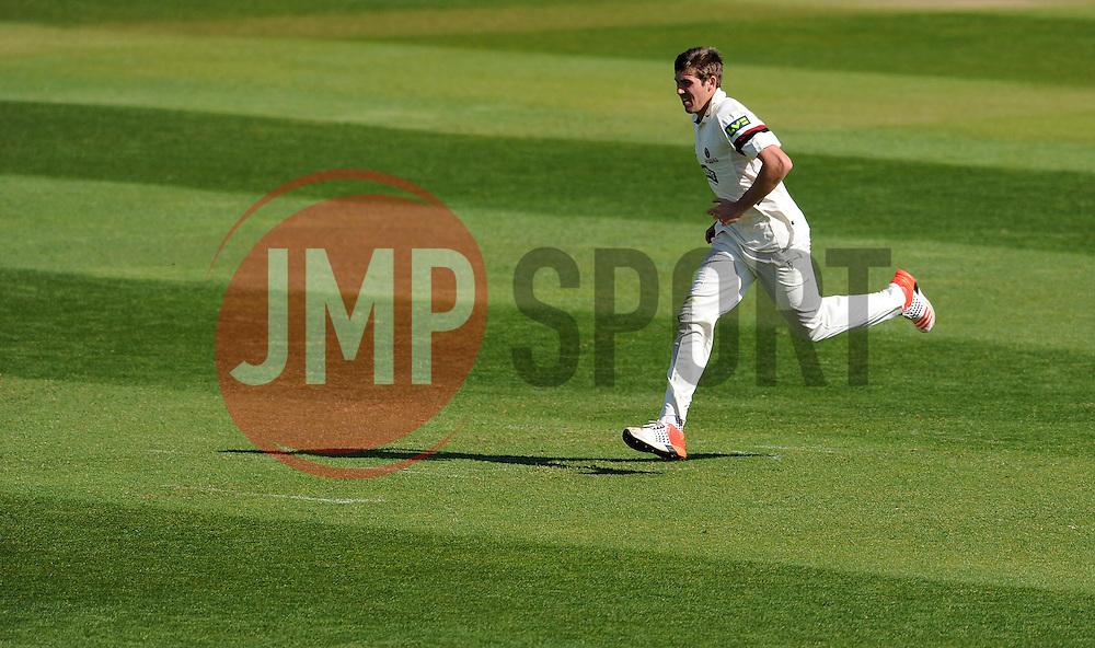 Somerset's Jamie Overton - Photo mandatory by-line: Harry Trump/JMP - Mobile: 07966 386802 - 14/04/15 - SPORT - CRICKET - LVCC County Championship - Day 3 - Somerset v Durham - The County Ground, Taunton, England.
