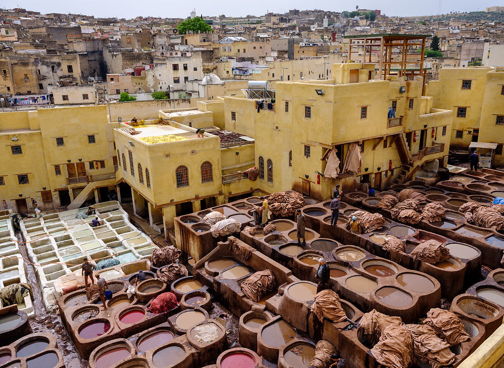 FEZ, MOROCCO - CIRCA APRIL 2017:  View of the tannery and workers in Fez.