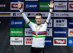 Podium / Rohan Dennis of Australia Gold Medal / Celebration / During the Men Elite Individual Time Trial a 52.5km race from Rattenberg to Innsbruck 582m at the 91st UCI Road World Championships 2018 / ITT / RWC / on September 26, 2018 in Innsbruck, Austria. Photo by Vid Ponikvar / Sportida