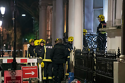 © Licensed to London News Pictures. 07/02/2018. London, UK. Fire crews at a property on Holland Park Gardens, West London where one person has dies in afire. Over 80 firefighters are battling the huge flat blaze on 'Millionaire's Row' in one of the wealthiest parts of the capital. Photo credit: Ben Cawthra/LNP
