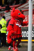 Theo, the Leyton Orient mascot interacts with the fans before the EFL Sky Bet League 2 match between Leyton Orient and Barnet at the Matchroom Stadium, London, England on 7 January 2017. Photo by Jack Beard.