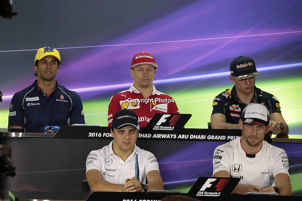 &copy; Photo4 / LaPresse<br /> 24/11/2016 Abu Dhabi, UAE<br /> Sport <br /> Grand Prix Formula One Abu Dhabi 2016<br /> In the pic: Press conference with :<br /> top Felipe Nasr (BRA) Sauber C34 , Kimi Raikkonen (FIN) Scuderia Ferrari SF16-H , Max Verstappen (NED) Red Bull Racing RB12 <br /> down : Felipe Massa (BRA) Williams F1 Team FW37 , Jenson Button (GBR)  McLaren Honda MP4-31.