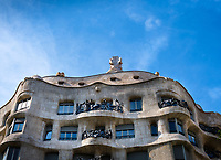BARCELONA, SPAIN - CIRCA MAY 2018: Facade of La Pedrera, also known as Casa Mila or The Stone Quarry. A famous building in the center of Barcelona designed by Antoni Gaudi.