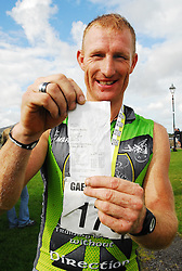 Padraig Marrey 1st place in Gaelforce West 2010 with his timeslip from the race. Marrey a native of Ballinrobe is the 1st Mayoman to win the race...Pic Conor McKeown