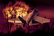 Digitally enhanced image of a US Marine Corps F-35 Lightning II. with an explosion in the background