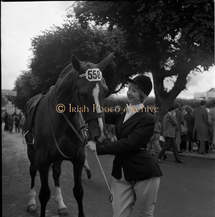 07/08/1962 <br /> 08/07/1962 <br /> 07 August 1962 <br /> Dublin Horse show at the RDS, Ballsbridge, Dublin, Tuesday. Image shows 18 year old Miss Heather C. Stewart, Lisburn, Co. Antrim and Hunter Gelding &quot;Capella&quot; at the show.