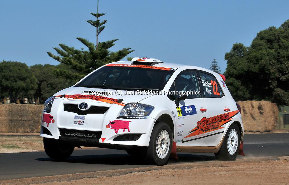 Darren WINDUS & John Allen .Toyota TRD Corolla S2000.Motorsport-Rally/2009 Forest Rally .Shakedown .3rd of April 2009.Busselton Foreshore, Busselton, Western Australia.(C) Joel Strickland Photographics