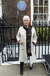 © Licensed to London News Pictures. 27/04/2017. London, UK. Dame Judi Dench unveils an English Heritage Blue Plaque at the London home of Sir John Gielgud where he lived for 31 years. Photo credit: Ray Tang/LNP