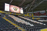 Seating in the stands and the score advertising board before the Capital One Cup match between Hull City and Swansea City at the KC Stadium, Kingston upon Hull, England on 22 September 2015. Photo by Ian Lyall.
