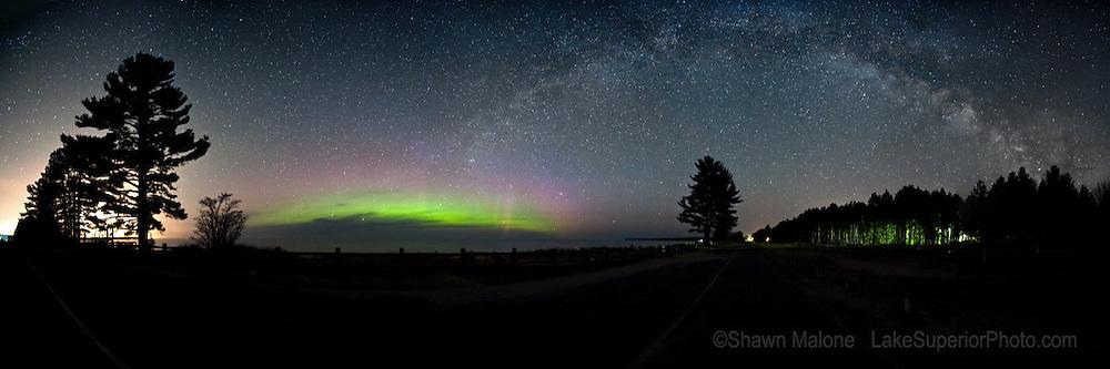 Northern lights and the Milky Way, 270 degree panorama, Epson International Pano Silver Award Winner, 2012