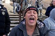 Roma 19 Febbraio 2015<br /> Hooligan olandesi  in Piazza di Spagna , dove si sono riuniti circa 500 tifosi olandesi del Feyenoord, in vista della partita che si svolger&agrave; stasera allo stadio Olimpico contro la Roma. <br /> Tifoso del Feyenoord con il cappello con la scritta : Fuck Roma<br /> Rome February 19, 2015<br /> Dutch hooligan in Piazza di Spagna, where gathered about 500 Dutch fans of Feyenoord, in view of the match that will take place tonight at the Olympic Stadium against Roma.<br /> Fan Feyenoord in the hat with the words: Fuck Rome