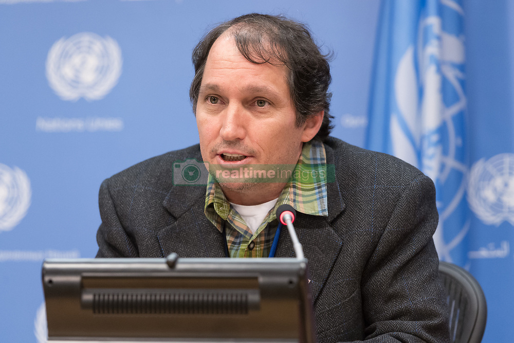 May 4, 2017 - New York, NY, United States - Brian Keane, Rapporteur of the 16th session of the UN Permanent Forum on Indigenous Issues, is seen in the UN press briefing room.  On the penultimate day of the 16th Permanent Forum on Indigenous Issues (April 24 - May 5), Forum Rapporteur Brian Keane, Forum member Les Malezer and Mai Thin Yu Mon from the Asia Indigenous People's Pact spoke at a press briefing at UN Headquarters, delivering their assessment of the Forum's key outcomes. (Credit Image: © Albin Lohr-Jones/Pacific Press via ZUMA Wire)