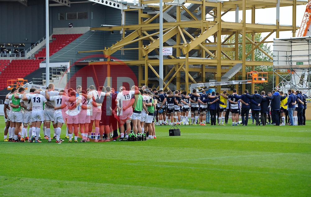 Both teams huddle after the game  - Mandatory byline: Joe Meredith/JMP - 07966386802 - 04/10/2015 - RUGBY - Ashton Gate -Bristol,England - Bristol Rugby v Rotherham Titans - Greene King IPA Championship