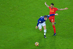 LIVERPOOL, ENGLAND - Monday, December 19, 2016: Liverpool's Nathaniel Clyne in action against Everton's Ross Barkley during the FA Premier League match, the 227th Merseyside Derby, at Goodison Park. (Pic by Gavin Trafford/Propaganda)