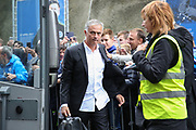 Manchester United Manager Jose Mourinho arrives off the club coach during the Premier League match between Brighton and Hove Albion and Manchester United at the American Express Community Stadium, Brighton and Hove, England on 19 August 2018.