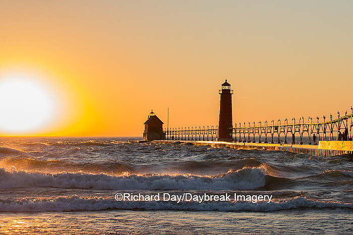 64795-01118 Grand Haven South Pier Lighthouse at sunset on Lake Michigan, Ottawa County, Grand Haven, MI