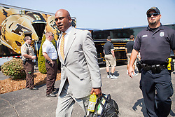 Sep 6, 2015; Huntington, WV, USA; Purdue Boilermakers head coach Darrell Hazell arrives at Joan C. Edwards Stadium prior to their game against the Marshall Thundering Herd.  Mandatory Credit: Ben Queen-USA TODAY Sports