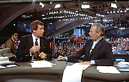 Peter Jennings and David Brinkley in the ABC anchor Booth at the Democratic Convention in San Francisco, CA in July 1984..Photograph by Dennis Brack bs b 17