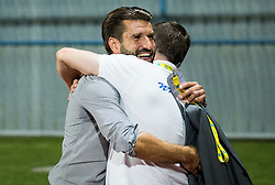 Luka Elsner, head coach of NK Domzale celebrates after winning during 2nd Leg football match between NK Domzale  and FC Shakhtyor Soligorsk in 2nd Qualifying Round of UEFA Europa league 2016/17 Qualifications, on July 21, 2016 in Domzale, Slovenia. Photo by Vid Ponikvar / Sportida