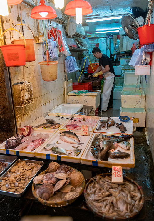 Seafood for sale in Wan Chai District, Hong Kong.