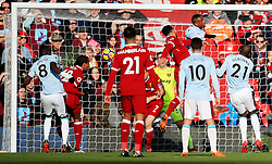 Emre Can of Liverpool scores his sides first goal - Mandatory by-line: Matt McNulty/JMP - 24/02/2018 - FOOTBALL - Anfield - Liverpool, England - Liverpool v West Ham United - Premier League