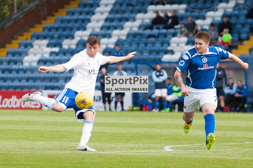 NIcky Riley (Peterhead 11) scores from the edge of the box in the Stranraer v Peterhead Ladbrokes SPFL Scottish Division 1 at Stair Park in Stranraer 15 August 2015<br /><br />&copy; Russell Gray Sneddon / StockPix.eu