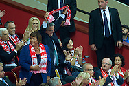 Bronislaw Komorowski President of Poland and his wife Anna First Lady on VIP tribune while volleyball final match between Brazil and Poland during the 2014 FIVB Volleyball World Championships at Spodek Hall in Katowice on September 21, 2014.<br /> <br /> Poland, Katowice, September 21, 2014<br /> <br /> For editorial use only. Any commercial or promotional use requires permission.<br /> <br /> Mandatory credit:<br /> Photo by © Adam Nurkiewicz / Mediasport