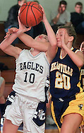 Times Herald-Record/TOM BUSHEY.Ellenville's Dayna Beatty (20) fouls Deana Syskowski of John S. Burke Catholic during a game last night in Goshen..Jan. 22, 2002.