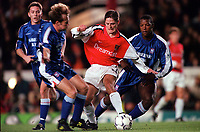 Graham Barrett (Arsenal) Jamie Clapham and Titus Bramble (Ipswich). Arsenal 1:2 Ipswich Town, Worthington Cup, Third Round, 1/11/2000. Credit Colorsport / Stuart MacFarlane.