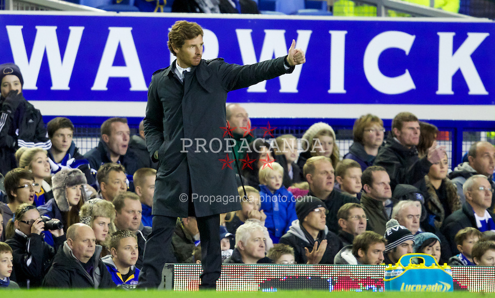 LIVERPOOL, ENGLAND - Wednesday, October 26, 2011: Chelsea's manager Andre Villas-Boas during the Football League Cup 4th Round match against Everton at Goodison Park. (Pic by Vegard Grott/Propaganda)