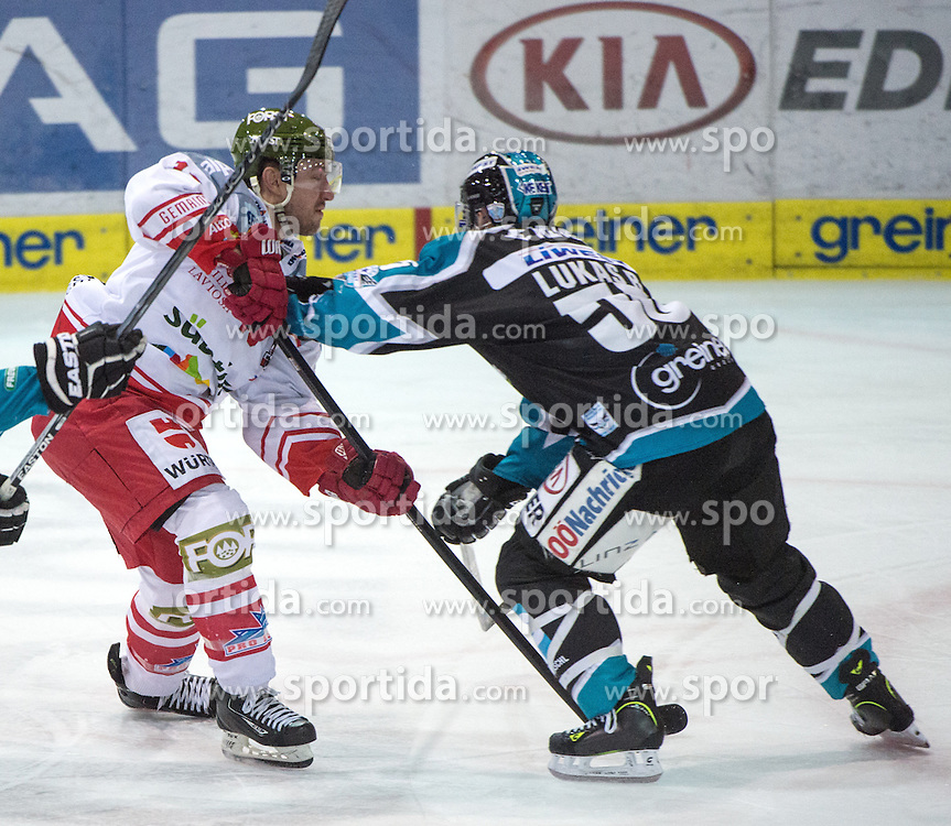 28.02.2016, Keine Sorgen Eisarena, Linz, AUT, EBEL, EHC Liwest Black Wings Linz vs HCB Suedtirol, Viertelfinale, 2. Spiel, im Bild v.l. Taylor Vause (HCB Suedtirol), Robert Lukas (EHC Liwest Black Wings Linz) // during the Erste Bank Icehockey League 2nd quarterfinal match between EHC Liwest Black Wings Linz vs HCB Suedtirol at the Keine Sorgen Eisarena in Linz, Austria on 2016/02/28. EXPA Pictures © 2016, PhotoCredit: EXPA/ Reinhard Eisenbauer