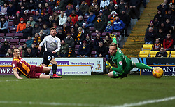 Danny Lloyd of Peterborough United scores his sides opening goal of the game past Rouven Sattelmaier of Bradford City - Mandatory by-line: Joe Dent/JMP - 26/12/2017 - FOOTBALL - Northern Commercials Stadium - Bradford, England - Bradford City v Peterborough United - Sky Bet League One