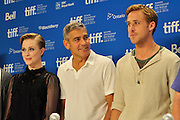 10.SEPTEMBER.2011. TORONTO<br /> <br /> EVAN RACHEL WOOD, GEORGE CLOONEY AND RYAN GOSLING ATTENDS THE IDES OF MARCH PRESS CONFERENCE AT THE 36TH TORONTO INTERNATIONAL FILM FESTIVAL 2011.<br /> <br /> BYLINE: EDBIMAGEARCHIVE.COM<br /> <br /> *THIS IMAGE IS STRICTLY FOR UK NEWSPAPERS AND MAGAZINES ONLY*<br /> *FOR WORLD WIDE SALES AND WEB USE PLEASE CONTACT EDBIMAGEARCHIVE - 0208 954 5968*