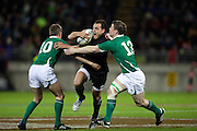 All BlackIsreal Dagg tackled by Ronan O'Gara, left  and Brian O'Driscoll during the New Zealand All Blacks v Ireland rugby Internatioanl Test at Yarrow Stadium in New Plymouth, New Zealand. Saturday 12 June 2010.