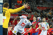 Vladimir Cupara (Serbia) and Luc Abalo (France) during the EHF 2018 Men's European Championship, 2nd Round, Handball match between Serbia and France on January 22, 2018 at the Arena in Zagreb, Croatia - Photo Laurent Lairys / ProSportsImages / DPPI