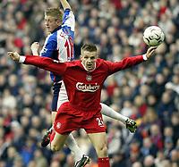 Photo. Aidan Ellis.<br /> Liverpool v Blackburn.<br /> FA Barclaycard Premiership.<br /> 04/04/2004.<br /> Liverpool's Igor Biscan and Blackburn's Johnathon Stead