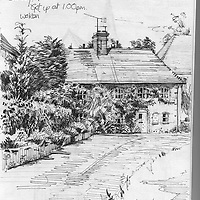 Sketchbook drawing of cottages in West Chiltington, West Sussex, England