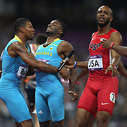 The Bahamas team of Chris Brown, Demetrius Pinder,  . Michael Mathieu and Ramon Miller, winning g the Gold Medal in the Men's 4 x 400m relay at the Olympic Stadium, Olympic Park, during the London 2012 Olympic games. London, UK. 10th August 2012. Photo Tim Clayton