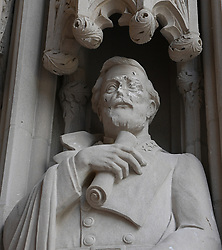 August 18, 2017 - Durham, North Carolina, U.S. - Vandals struck the statue of Confederate Gen. Robert E. Lee outside Duke Chapel on Duke University's campus sometime Wednesday night or early Thursday. (Credit Image: © Fabian Radulescu via ZUMA Wire)