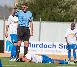 Morton's Doug Imrie after colliding with ref Craig Thomson.<br />