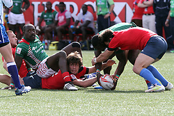 March 5, 2017 - Las Vegas, Nevada, United States of America - Russian German Davydov ends up at the bottom of  the pile during the 2017 USA Sevens International Rugby Tournament game between Kenya and Russia on March 4, 2017  at Sam Boyd  Stadium  in Las Vegas, Nevada (Credit Image: © Marcel Thomas via ZUMA Wire)