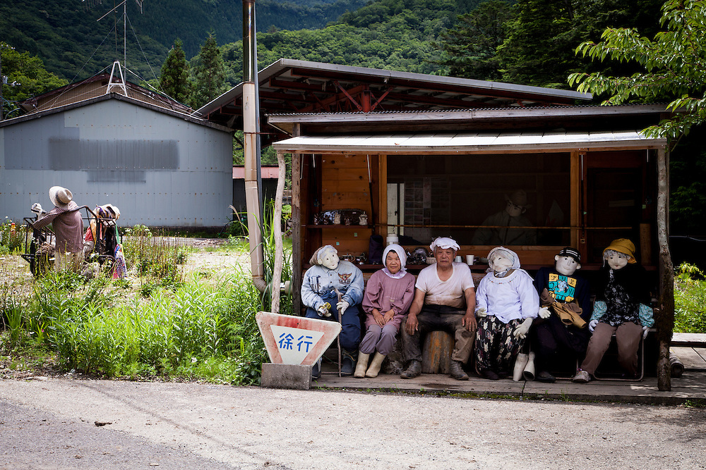 MIYOSHI, JAPAN - JULY 11 :  Hand-made dolls are are placed around the village made by local resident Tsukimi Ayano to replace the the departed on July 11, 2015 in Nagoro village, in Miyoshi, Japan. Nagoro is a slowly shrinking village located in the valleys of Shikoku, Japan. According to Japan's Statistic Bureau, the percentage of people over 65 years old in Japan is 26.8% while that of the the world is 8.2%. The National Institute of Population and Social Security Research in Tokyo, Japan's population, now around 128 million, is expected to dip below 100 million in 2046.<br /> <br /> Photo: Richard Atrero de Guzman