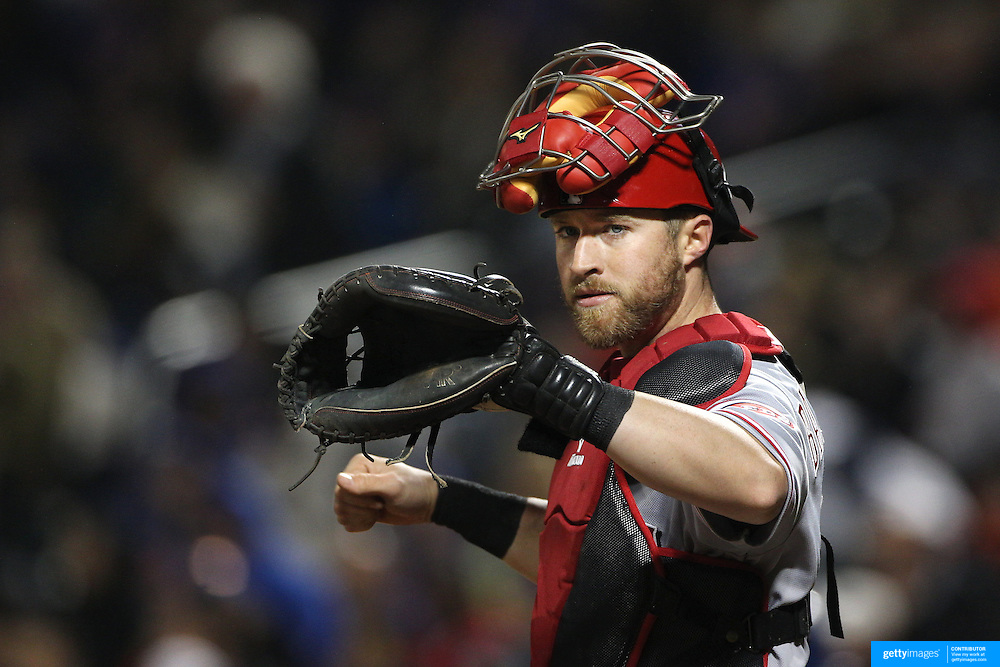 NEW YORK, NEW YORK - APRIL 26:  Catcher Tucker Barnhart #16 of the Cincinnati Reds during the New York Mets Vs Cincinnati Reds MLB regular season game at Citi Field on April 26, 2016 in New York City. (Photo by Tim Clayton/Corbis via Getty Images)