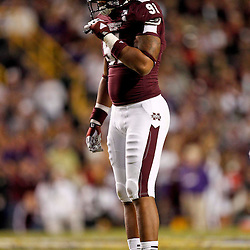 November 10, 2012; Baton Rouge, LA, USA; Mississippi State Bulldogs defensive lineman Preston Smith (91) against the LSU Tigers during the second half of a game at Tiger Stadium.  LSU defeated Mississippi State 37-17. Mandatory Credit: Derick E. Hingle-US PRESSWIRE