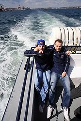Rok Pajic and Andrej Hebar at whale watching boat, when some guys of Slovenian Team were celebrating an anniversary of playing for the team, during IIHF WC 2008 in Halifax,  on May 07, 2008, sea at Halifax, Nova Scotia, Canada. (Photo by Vid Ponikvar / Sportal Images)
