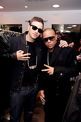 Left to right, Rapper FUGATIVE and DJ IRONIK at a party to celebrate the Firetrap Watches and Kate Moross Collaboration Launch, held at Firetrap, 21 Earlham Street, London, UK on 13th October 2010.