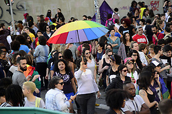 June 18, 2017 - SâO Paulo, São paulo, Brazil - Activists participate in the Walk of Lesbian and Bisexual Women in Praça Roosevelt, central SP. The act was organized by the LGBT (lesbian, gay, bisexual and transgender) in São Paulo, Brazil, on June 17, 2017. LGBT community marches in solidarity, equality, dignity, rights and in celebration of their diversity. (Credit Image: © Cris Faga via ZUMA Wire)